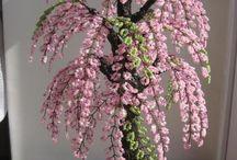 boncuk çiçek ve ağaçlar