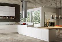 Cucine Moderne 2015 - Wega / Per dare vita a cucine componibili personalizzate, le diverse finiture a disposizione permettono di creare molteplici combinazioni: dall'estetica essenziale in tinta unita all'alternanza di materiali e colori. L'anta senza maniglie, con gola integrata nel pannello, crea giochi geometrici innovativi, da godere anche al tatto, sulle varie superfici di applicazione. Una linea moderna dalle geometrie essenziali, che permette di personalizzare lo spazio cucina con un tocco di design.
