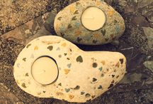 Candle`s holders / Candelabros / #Handcraft stone art#candles holders#