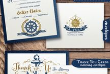 "Rustic Nautical Wedding Invitations / We have a gorgeous vintage nautical inspired wedding invitation ensemble featuring a rustic anchor and ""Tying the Knot"" rope graphic along with other beautiful nautical imagery. This vintage wedding ensemble is professionally printed on beautiful metallic paper and each invitation is artfully hand-mounted on thick metallic navy blue card stock. We can change the colors to match your wedding scheme!"