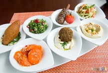 East Mediterranean Cuisine at Sharkia / Sharkia 7 starters tasting (hummus, spicy carrot salad, tabouleh, kibbeh from finely minced meat with pine seeds, falafel, kofta on cinnamon sticks, tomato arabic salad), mixed grill and malabi dessert with vanilla, milk and pomegranate