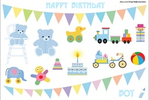 Birthday Clip Art for Boys and Girls / If you are looking for Birthday doodles and digital clip arts for your boys and girls, please access to http://etsy.com/shop/bigfatdoodles for some of our collections.