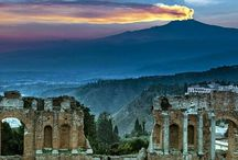 Dramatic Mount Etna from Taormina Theatre. Sicily