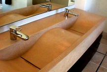 Colored Concrete Counter Tops and Sinks / Examples of colored sinks and counters created using Davis Colors concrete pigments