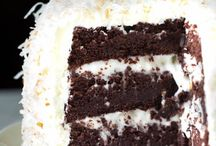 Chocolate cake with coconut buttercream icing