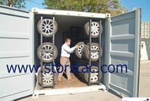 Tire Rack Storage Container / Featured here is an ISO shipping container with a custom built (by Storstac) tire rack for easy seasonal tire storage. Available in both 20' and 40' storage containers, these tire racks make storing and accessing tires simple and easy. Racks can be customized to fit any size tire and rim combo.