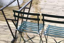 Steel sawhorse Oak table
