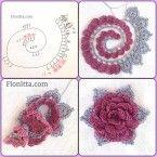 Цветы крючком. Цветочные гирлянды крючком. Украшения крючком из цветочных мотивов.
