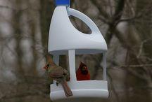 Vogel voer bakken huisjes