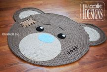 crochet rug bear face