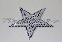 Rhinestone Decals / Rhinestone decals may be used for glass, plexiglass, or any smooth hard flat surface.  They are ideal for showing support for school teams and other organizations.