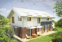 ZIELEŃ I WODA / Szalenie prosty i funkcjonalny dom doskonały dla klasycznej, 4-5 osobowej rodziny.  Powierzchnia użytkowa (m2) - 121 Zapotrzebowanie na energię (kWh / m2rok) - 39,10  Autor: arch. Anna Bać