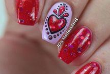 valentin day nail
