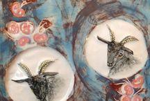 Ceramic goats - Land & Sea ceramics - Sara Mailis / Ceramic goats from Land & Sea ceramics, by Sara Mailis