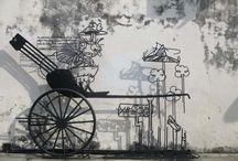 ARTE URBANO en Penang, Malasia / Las calles de George Town en Penang, Malasia están llenas de arte urbano