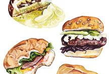 foods water colour illustration