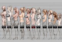 diseño de personajes femeninos (bocetos)