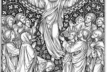 Black and white catholic art of illustration