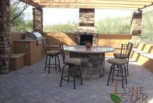 Entertaining In Your Backyard / A backyard barbecue is a great way to enjoy the outdoors with family and friends. From a simple BBQ with a flagstone countertop to an elaborate outdoor kitchen with a bar top, stone and tile accents and cast in place concrete countertops, we have the ability to make your gathering memorable