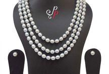 3 Line Splendid Grey Pearl Necklace Set at Rs.10,800