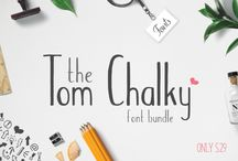 The Tom Chalky Font Bundle / The Fantastic Tom Chalky Font bundle includes 28 different fonts, as well as four other graphic based packs, all for just $29!