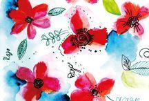 Pattern flores / Ilustración de flores en patrones (doodle flowers)