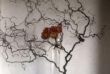 art floral compositions florales  flower art with wood and stones... / Compositions florales avec pierres bois branches..... pour l'intérieur ou l'extérieur