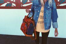 Hand bag met tapeztre/denim/leer