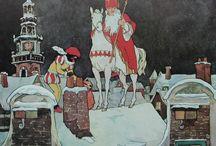 Op de hoge, hoge daken / Mooie illustraties, Sinterklaas / Zwarte Piet op het dak
