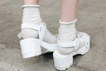 footwear: jelly sandals.