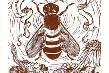 Bee Art / Beautiful honeybee, native bee, and bumblebee art.