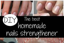 Nail strengthening rub garlic and olive oil then wash it in luke water