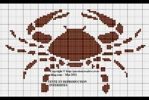 Cross stitch - crabs, lobsters and cancers