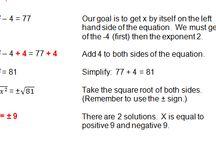 Quadratic Equations / Examples and ideas for teaching Quadratic Equations.