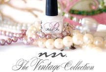 Vintage Collection / Spring is right around the corner, and fresh hues are in the forecast! The NSI Vintage Collection is the perfect addition to your color line. This collection spans across our product lines adding 6 NEW! Polish Pro Gel Polish Colors, 6 NEW! Secrets Shades Colored Acyrlic Powders, 3 NEW! Secrets Sparkles Acrylic Glitter, and 4 NEW! Secrets Removable Gel Polish, with a new Design gel and Glitter Effects powder to complement these new shades.