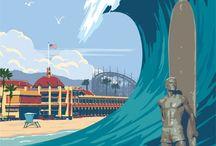 California / und andere / alte Werbeplakate / Reise