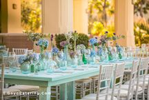 Montaje color fucsia, turquesa y verde para un brunch --/-- Fuchsia, turquoise and green set up for a brunch.