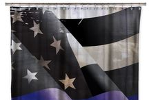 THIN BLUE LINE SHOWER CURTAINS / Support your law enforcement with our Thin Blue Line Shower Curtain series