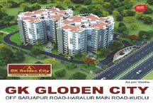GK Golden City / GK Golden city is a BBMP approved 2BHK and 3BHK apartments of GK Shelters, offering an area between 1200 sq. ft. – 1700 sq.ft. The structure of the said complex is basement + Ground + 9 floors of residence.  GK Golden City is located in one of the most prime locations in Bengaluru. It is situated Off Sarjapur road that enjoys all the benefits of being close to well-known IT Parks, reputed schools, shopping malls, hospitals, airport etc.