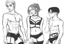 Erwin,Hanji,Levi y Mike