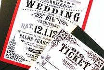 Vintage circus invitation ticket wedding / Kaartjes