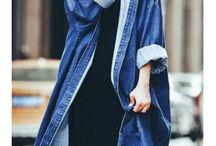 blue jean coat look