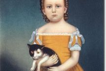 Pets in Early American Folk Art / I love American Folk paintings of odd-looking children clutching their pets.