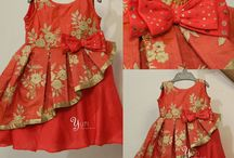 red frock with slant frill