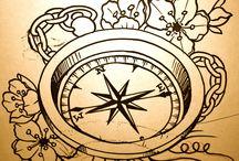 reloj+flor de los vientos