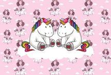 Unicorns Fotobehang / Haal de vriendelijke, schattige en magische Unicorns in huis met dit prachtige fotobehang! Leuk ook voor de baby / kinderkamer!