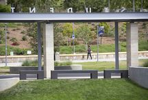 Custom Benches at Cal State University San Marcos / Customer:  Cal State University San Marcos. Product:  Custom Benches with a Polished Finish. Specifier:  landLAB, San Diego, CA.