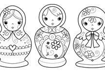 coloriage poupée russe