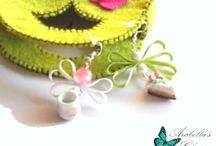 Earrings with charms tea cup ceramic and slice of cake made in polymer clay