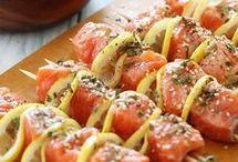 sushis brochettes  poissons